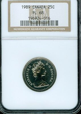 1989 Canada 25 Cents Ngc Pl 68..