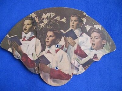Vintage Advertising Fan Collapsible Olivehurst CA Church Choir Boys