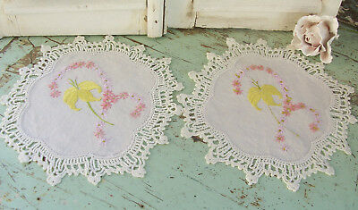 Two Vintage Hand Embroidered Doilies Shabby Flowers Belle linen