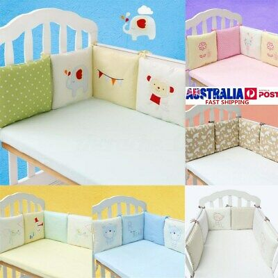 6X Baby Infant Cot Crib Bumper Safety Protector Toddler Nursery Bedding Set AU