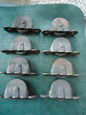 """Lot Of 8 Vintage Antique Cast Iron Window Sash Pulley Weights Rollers  4 1/8"""""""