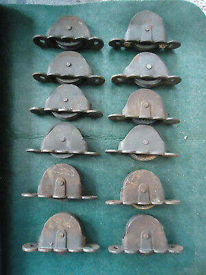 Lot Of 12 Vintage Antique Cast Iron Window Sash Pulley Weights Rollers  4""