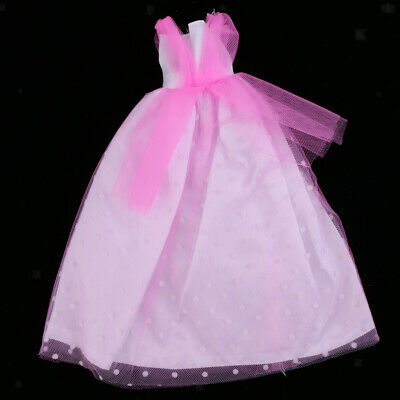 Doll Clothes for Barbie Party Pink Lace Tulle Gown Dress Skirt Outfit Tops