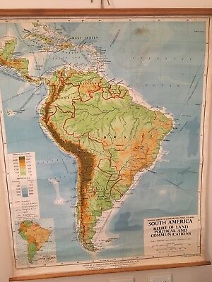 Vintage Canvas School Map Of South America