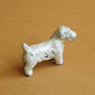 Dog Figurine Sealyham Terrier Painted Metal Small