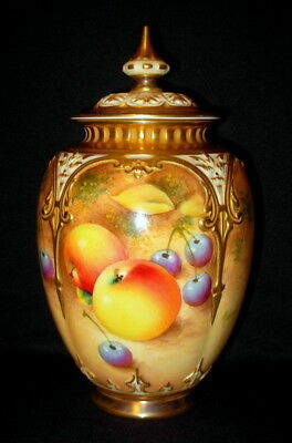 ROYAL WORCESTER ~ FRUIT POTPOURRI VASE ~ HAND PAINTED SIGNED JAR CIRCA 1950's