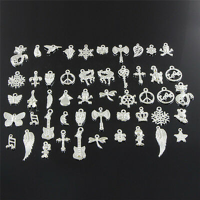 Wholesale Retro Silver 50pcs Bulk Lots Mix Charm Pendants Jewelry DIY AU..