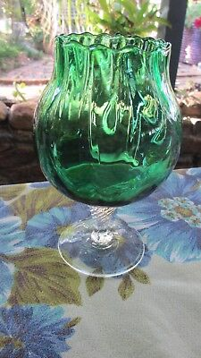 Vintage Emerald Green Brandy Balloon shaped vase
