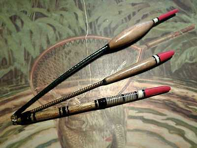 Set Of 3 Traditional Hand Made River Trotting Fishing Floats