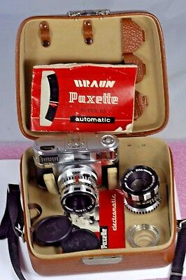 Braun Paxette Super III  w/ f2.8 50mm and 90mm 3.5 Lenses + Original Case & Book