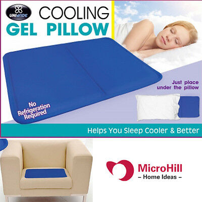 New Cooling Gel Pillow Insert Sleep Cooler Mat Cool Bed Sofa Pain Muscle Relief