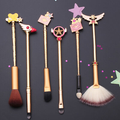 6 Pcs Cardcaptor Sakura Kinomoto Makeup Brushes Set Anime Cosmetics Brush Kits