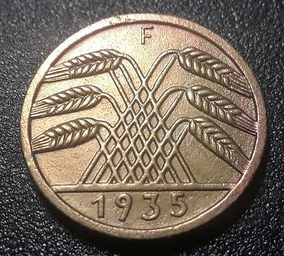 (RARE) ERROR 1935-F -NAZI-  5 pfenning coin uncirculated (proof like) coin