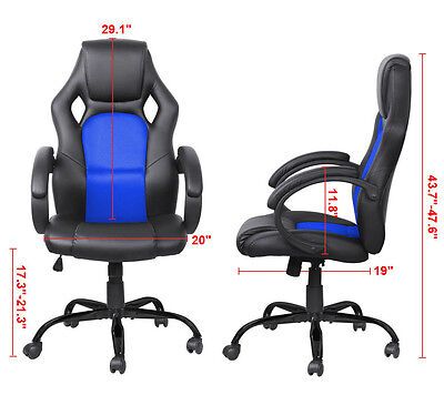Racing Style High Back Bucket Seat Gaming Chair Swivel Office Desk Task Blue New