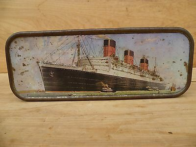 Vintage Old Large Size Queen Mary, Cruise Liner Advertising Tin, Old Tin (C667)
