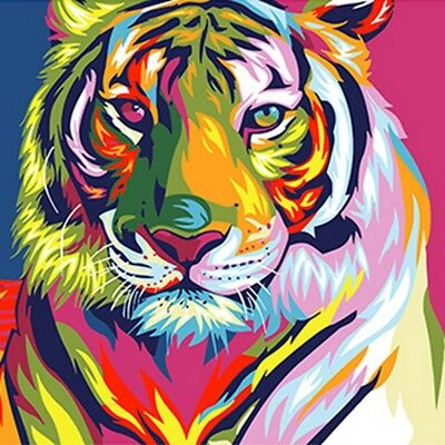 Color Tiger DIY Paint by Numbers Kit Canvas Oil Painting Wall Decor Gift 40x30cm