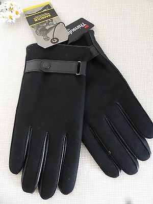 BNWT Barbour International Thinsulate Black Leather Wool Gloves  size M