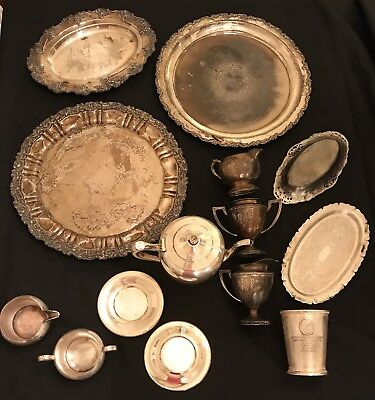 Lot Of 14 Silver Plated Trays, Creamer, Sugar, Etc