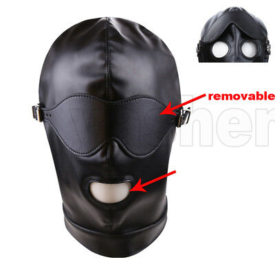 Faux PU Leather Removable Eyepatch blinder Mouth Open Bondage Hood Mask