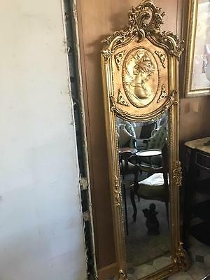Antique Style Baroque French Gold Cameo Trumeau / Pier Floor / Wall Mirror