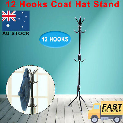 12 Hook Coat Hanger Stand 3 Tier Tree Style Hat Bag Clothes Metal Rack Storage