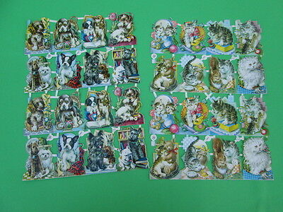 Vintage Lot Of 2 Pzb Germany Scrap Papers Die Cut Paper Dogs & Cats