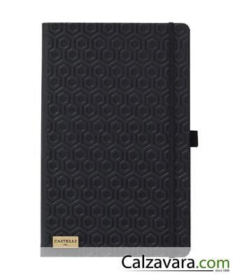 Notebook Castelli Black & Gold Collection cm 13x21 a Righe - Honeycomb Black