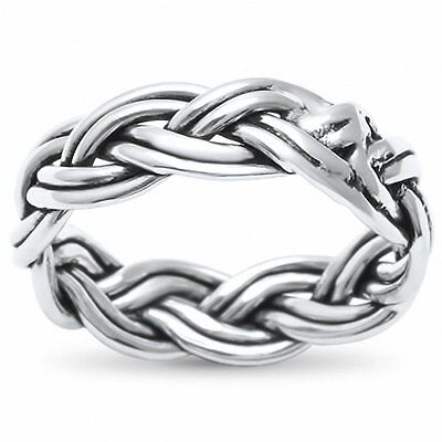 6mm Celtic Band Ring Braided Twisted Men Women Unisex 925 Sterling Silver