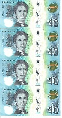 Consec RUN of 4 UNC 2017 $10 notes A_17 Prefix - direct from RBA to me to you :)