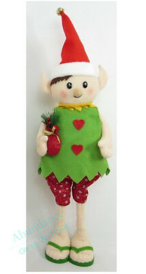 Extendable Green Elf Felt Bodied Standing Aussie Christmas Decoration