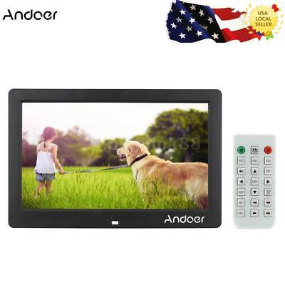 """10.1"""" LCD HD Digital Photo Picture Frame MP3 MP4 Player + Remote Gift Black N4K1"""