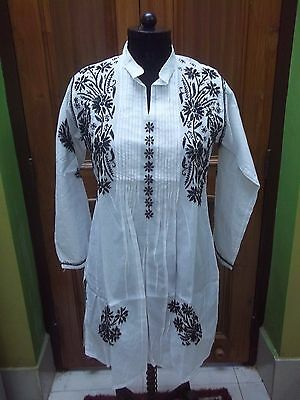 Designer M 40 Handmade Chikan Embroidery Ethnic Tunic 100%cotton Top Kurta Kurti