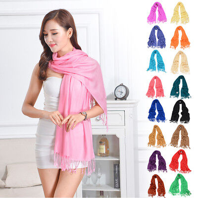 NEW Women Soft PASHMINA SILK Classic Solid Cashmere Wool SHAWL Scarf Stole NEW