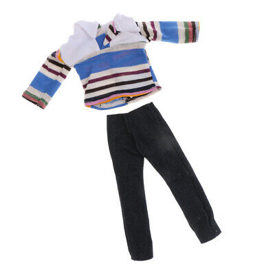 Clothes Striped Shirt Jeans Pants Trousers For Barbie Ken Doll Dress Up Accs