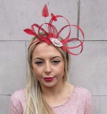 Red Gold Silver Feather Sinamay Fascinator Headband Races Cocktail Hair Vtg 4505