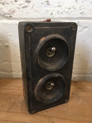 Original  Vintage 2 Gang Cast Iron  Industrial Light Switch By Crabtree