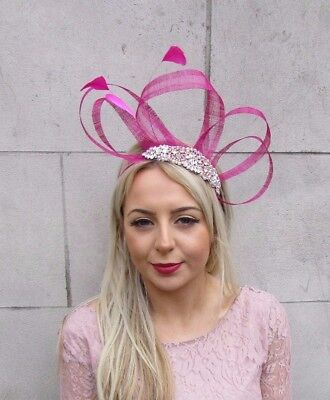 Hot Pink Rose Gold Silver Sinamay Feather Fascinator Headband Races Hair 4509