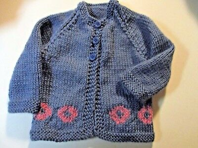 PHISH Inspired BABY JACKET  Hand Knitted  0- 6 months   Med Blue/Pink