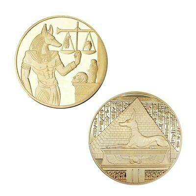 God of Death Egyptian Mummification Anubis Coin Badge Collectible Gold 40mm