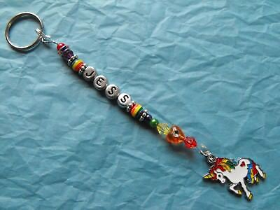 UNICORN RAINBOW PANDA Personalised bag charm/ bagtag/ keyring. Name. Gift.