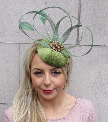 Moss Olive Green Bronze Feather Fascinator Hat Hair Clip Pillbox Races Vtg 4510