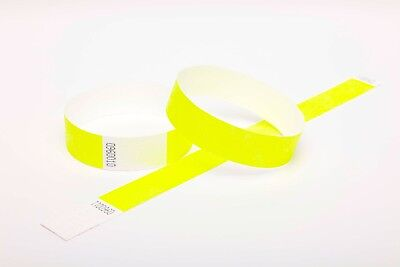 """1000 Plain Neon Yellow 1"""" Tyvek Paper Wristbands for Events,Festivals,Parties"""