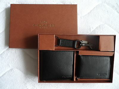 Genuine COACH New York 3 PIECE Leather GIFT SET- WALLET & CARD HOLDER & KEYRING