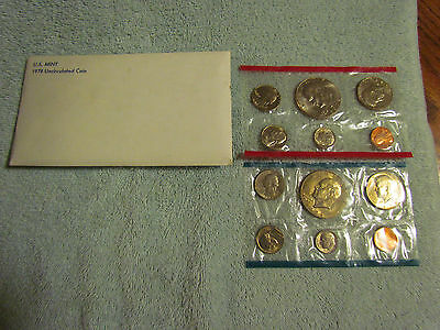 1978 US Mint Set P and D Original Envelope 12 Coins Eisenhower Kennedy