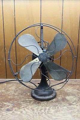 """Vintage OSCULATING GE BRASS BLADE ELECTRIC FAN  with a 17"""" CAGE"""