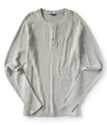 aeropostale mens long sleeve solid thermal henley