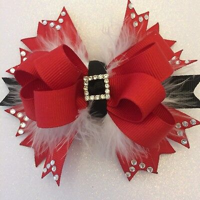 "Handmade 6"" Christmas Boutique Santa Suit Hair Bow Grosgrain Maribo Rhinestone"