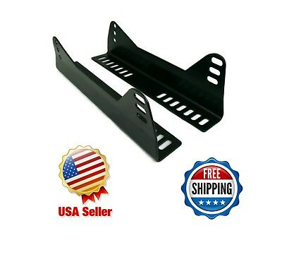 Black Universal Side Mount Bucket Seat L Brackets - One Pair for One Seat