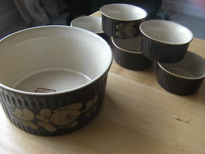 DENBY BAKEWELL PIE/SOUFFLE DISH AND 5 RAMEKINS. Never used.