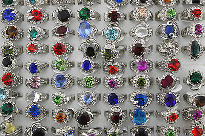 42pcs Wholesale Mixed lots Cute Rhinestone Lady's Fashion Rings AH508